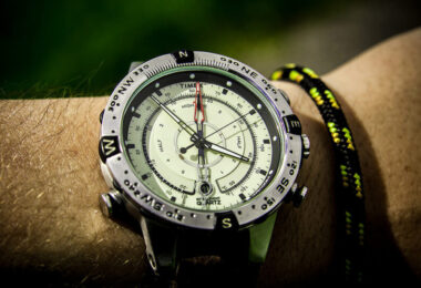 quartz watch on hand with compass