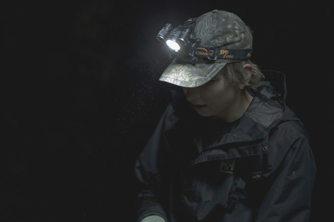 wearing headlamp in the rain