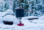 backpacking stove in snow