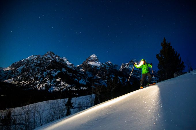 skiing in the night with a headlamp