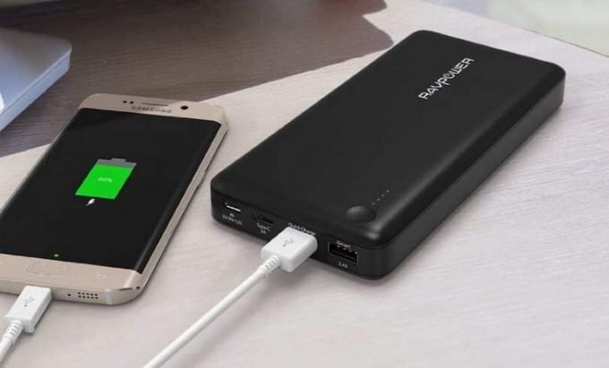 3-port external battery pack by ravpower on a table