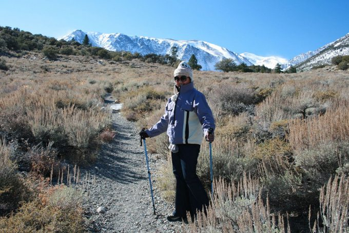 lady hiker with hiking poles