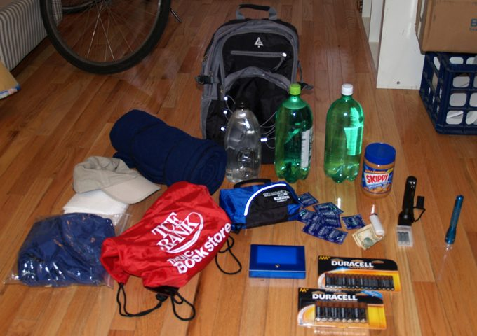 stuff laying on floor for bug out backpack