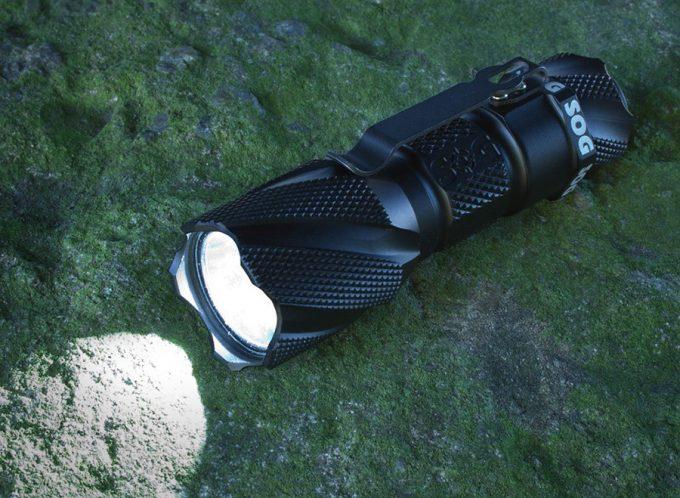 flashlight on rock