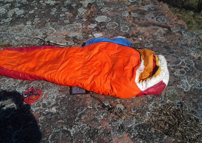 mummy sleeping bag on rocks