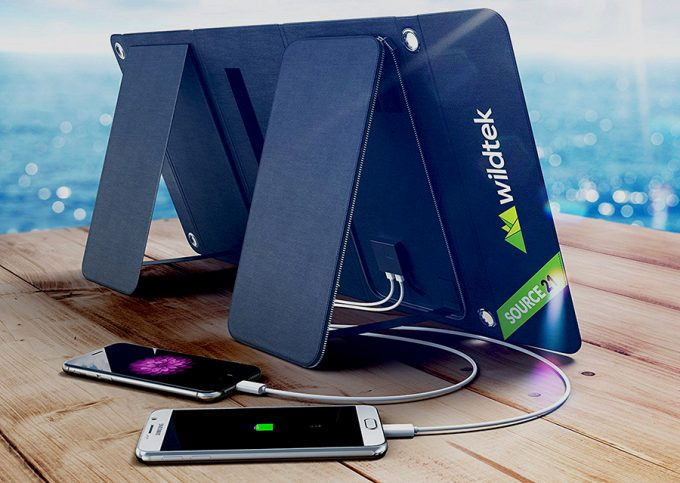 solar charger charging 2 phones