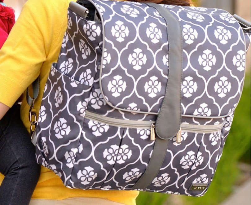 Backpack Diaper Bag - Gray Floret