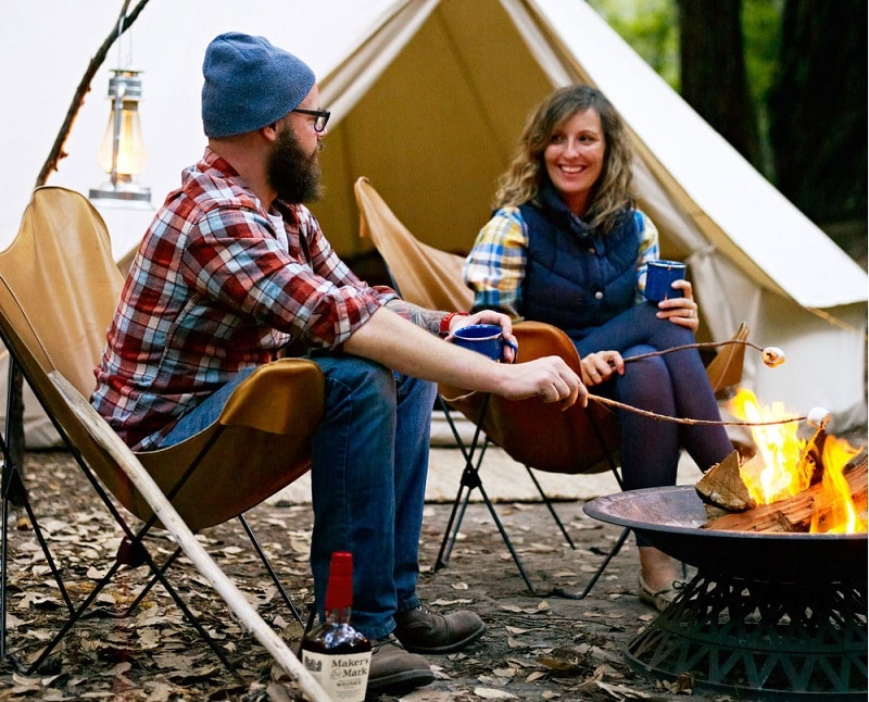 camping activities near the campfire