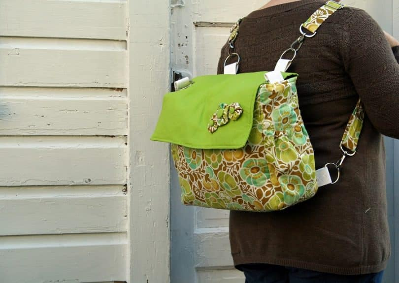Woman with convertible diaper bag