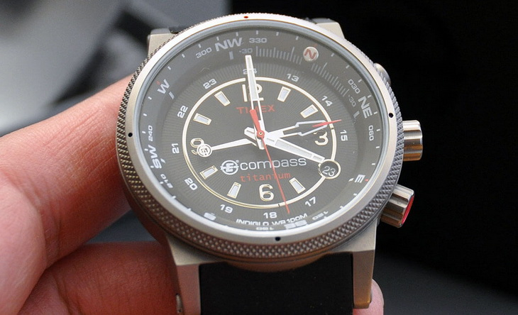 Close-up image of a compass watch