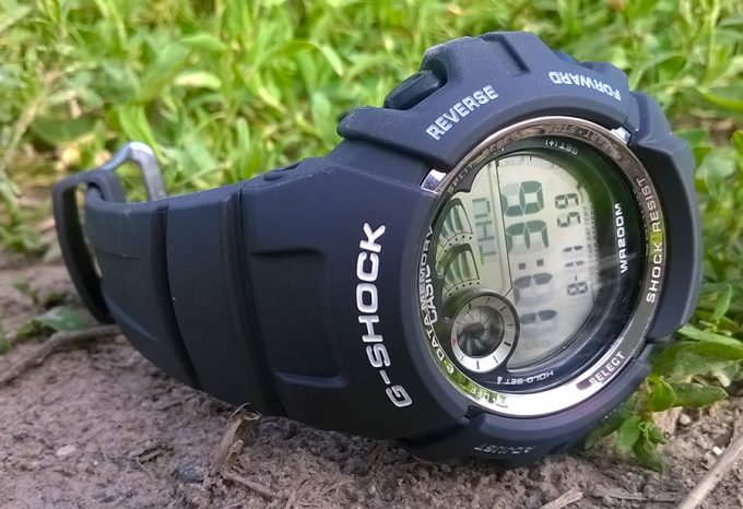G shock g2900 watch with compass on grass