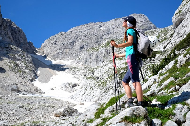 Woman with hiking poles