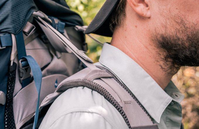 backpack on mans back