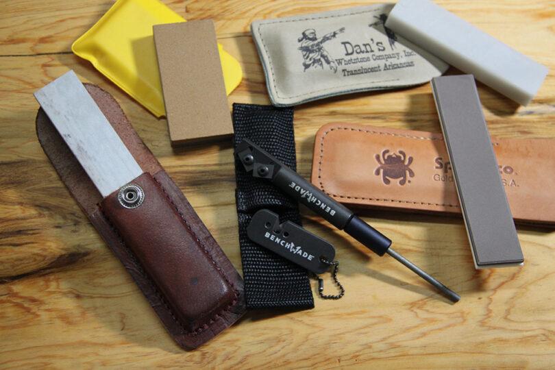 Pocket Knife Sharpeners on table
