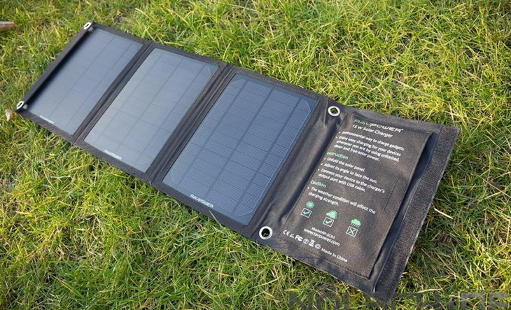 RAVPower-Solar-Charger on the grass