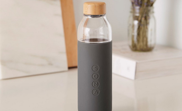 Soma Glass Water Bottle on a Table