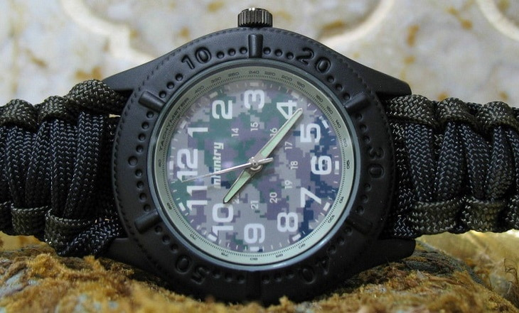 Close-up image of a survival watch
