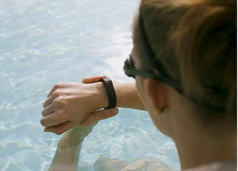 woman wearing activity tracker