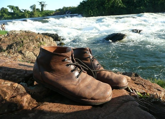 Hiking boots by the river