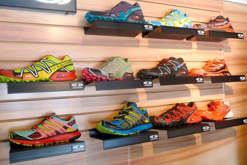 trail running shoes on the shelfs