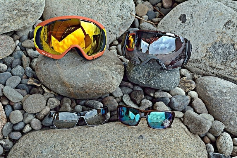 winter eyewear on rocks