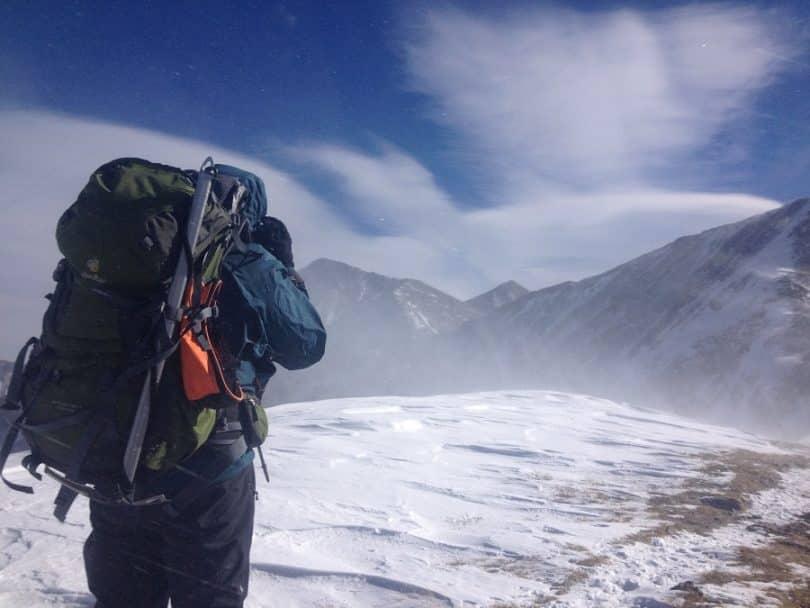 Man on winter hiking