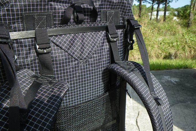 carbon fiber frame on a backpack