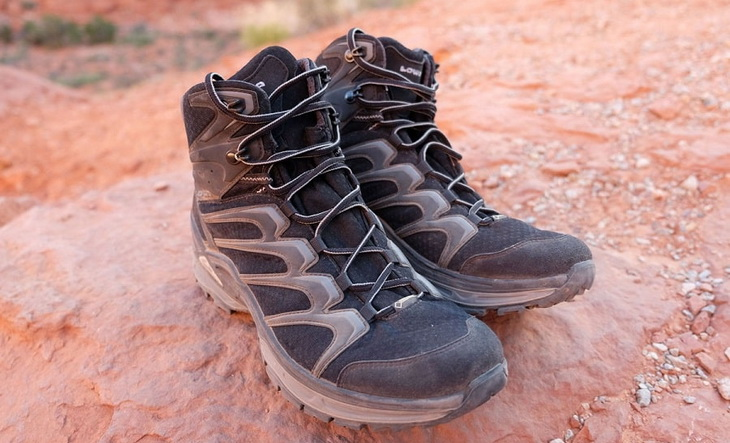 A pair of Outsole backpacking-boots