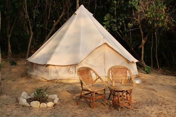 cotton tent on beach