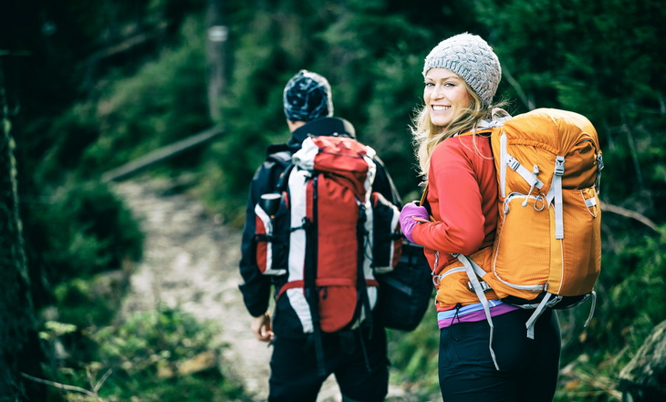 Couple enjoying a relaxing Smoky Mountains National Park backpacking trail