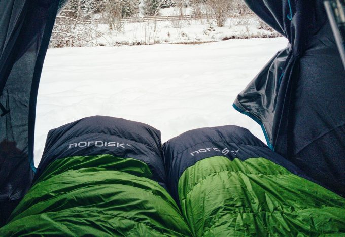 two sleeping bags in tent