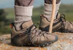 hiker wearing backpacking and hiking shoes
