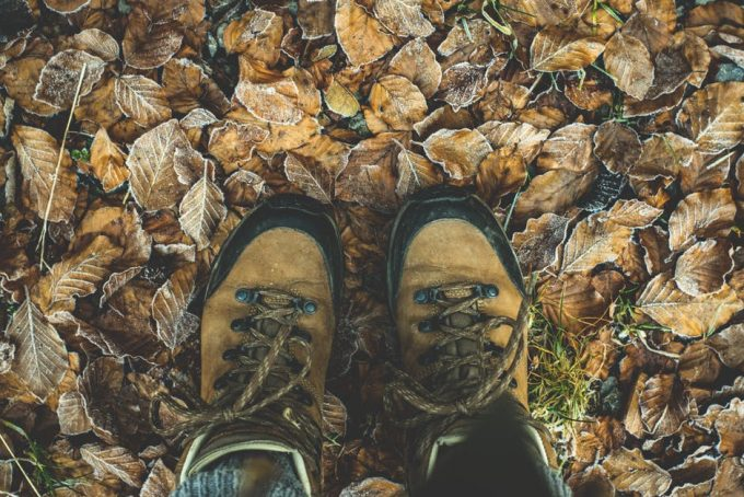 hiking and backpacking boots viewed from above