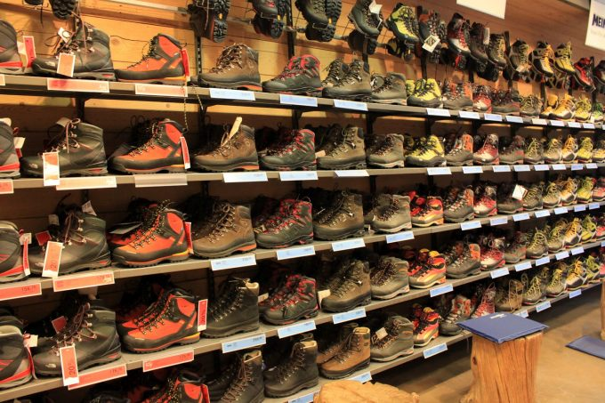 hiking boots in store
