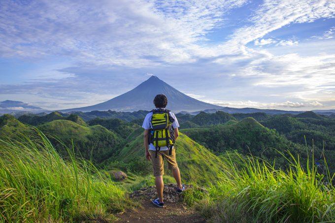 man wearing hiking shirt