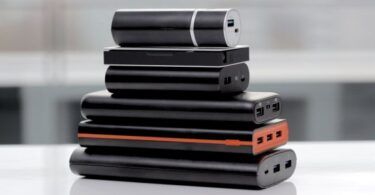 portable batteries on table