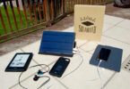 solar phone charger on table