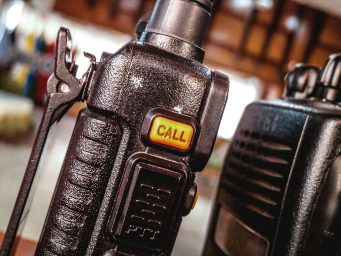 police walkie talkie from up close