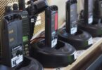 several brands of walkie talkies on shelf