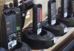several brands of walkie talkies on shelf