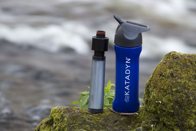 water bottle with filter in nature
