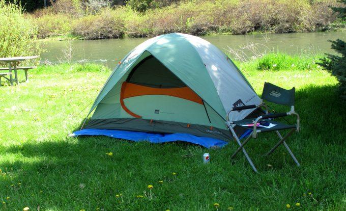 camping tent near lake