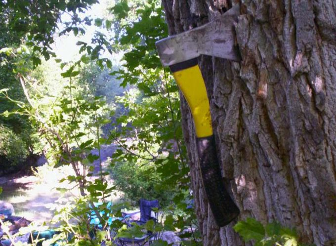 camping hatchet in tree