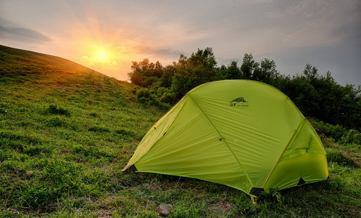 3F UL GEAR Outdoor Camping Tent on a hill and a sunset