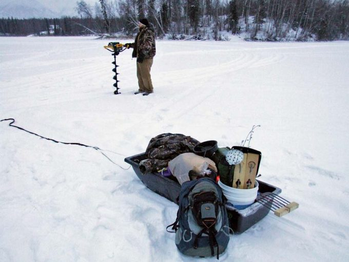 backpacking with sled on snow