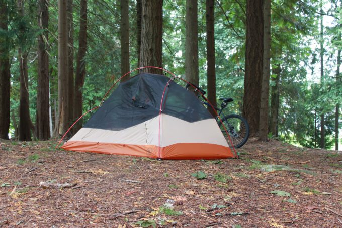 4 season camping tent in the woods
