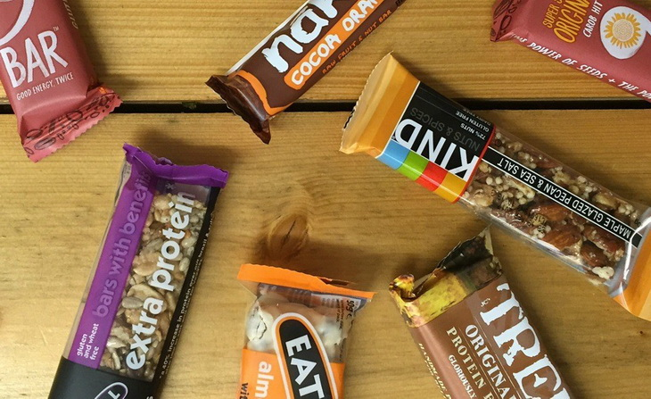 Different types of energy bars on a table
