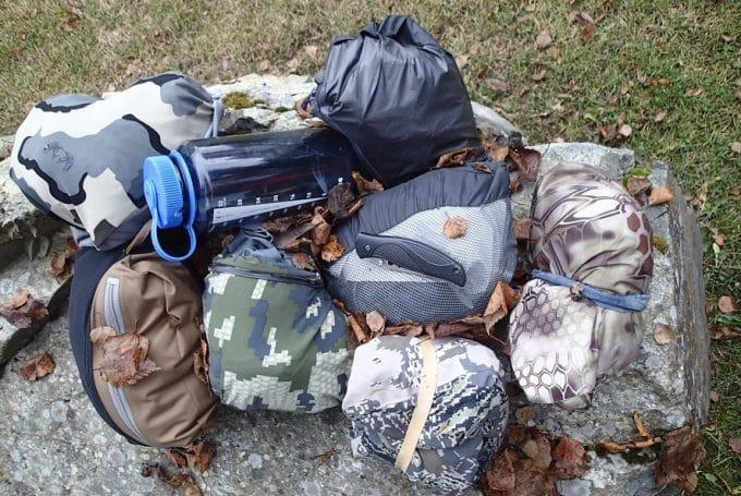 Rain gear Gore-Tex Garments laying on ground
