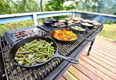 Making a BBQ with a campfire-cooking-equipment