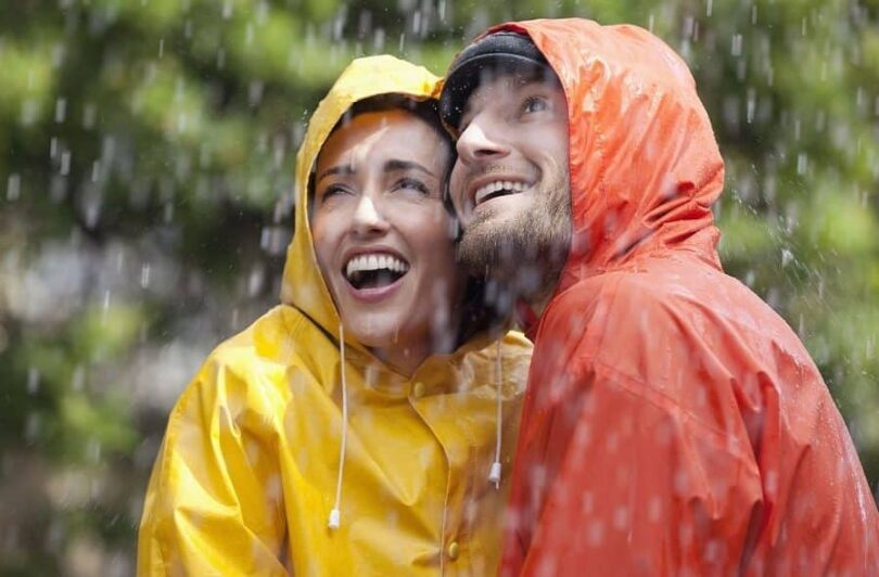 couple wearing rain gear
